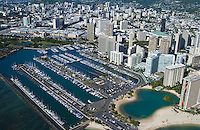 Aerial of Ala Wai harbor  and Hilton lagoon in Waikiki, Oahu