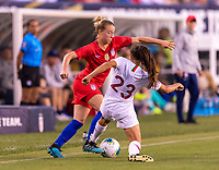 PHILADELPHIA, PA - AUGUST 29: Emily Sonnett #15 of the United States is defended by Joana Marchao #23 of Portugal during a game between Portugal and the USWNT at Lincoln Financial Field on August 29, 2019 in Philadelphia, PA.