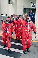 "Crew walkout, Space Shuttle  Atlantis, STS 101Mission, May 2000, Kennedy Space Center, Titusville, FL.  Crew:  Commander James D. Halsell Jr., Pilot Scott J. ""Doc"" Horowitz, Mission Specialists Mary Ellen Weber, Jeffrey N. Williams, James S. Voss, Susan J. Helms and Yury Vladimirovich Usachev.  (Photo by Brian Cleary/bcpix.com)"