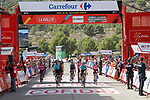 Riders cross the finish line at the end of Stage 8 of the 2017 La Vuelta, running 199.5km from Hell&iacute;n to Xorret de Cat&iacute;. Costa Blanca Interior, Spain. 26th August 2017.<br /> Picture: Unipublic/&copy;photogomezsport | Cyclefile<br /> <br /> <br /> All photos usage must carry mandatory copyright credit (&copy; Cyclefile | Unipublic/&copy;photogomezsport)