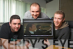 Audio Technology Students Dave Williams Headford Killarney and Eoin O'Leary, Oakpark, Tralee, pictured with their lecturer Bob Jackson, who did a Kerry accent dub of a scene from the movie Pulp Fiction.