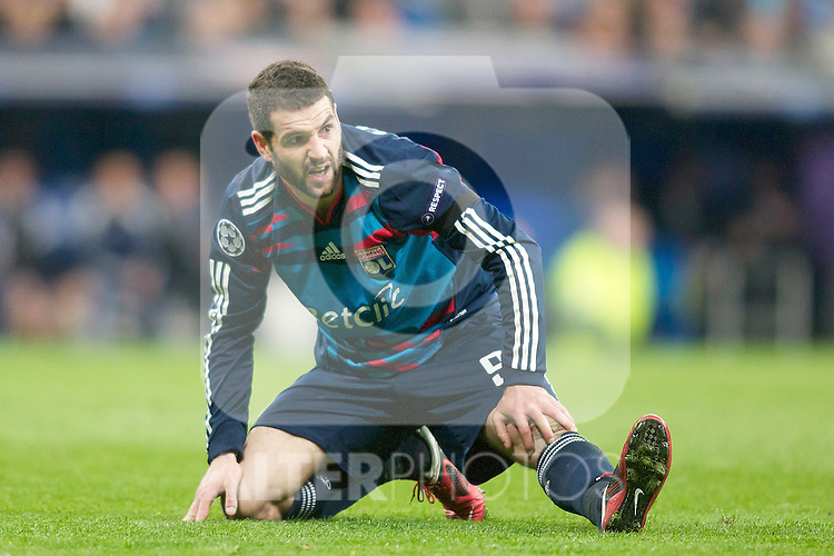 Olympique de Lyon's Lisandro Lopez dejected during Champions League match. March 16, 2011. (ALTERPHOTOS/Alvaro Hernandez)
