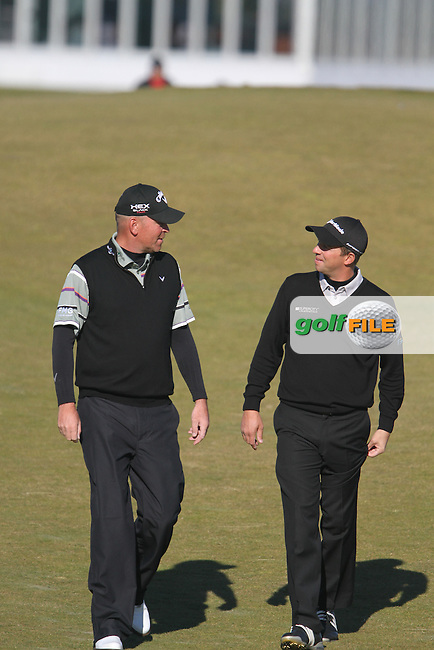 Thomas Bjorn (DEN) and Sam Little (ENG) on the 10th in Kingsbarns on the 3rd Day at the Alfred Dunhill Links Championship, Old Course St. Andrews, Carnoustie and Kingsbarns, Scotland...(Photo Jenny Matthews/www.golffile.ie)