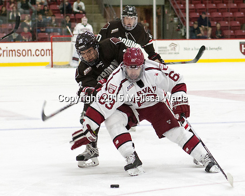 Josh McArdle (Brown - 12), Colin Blackwell (Harvard - 63) - The Harvard University Crimson defeated the visiting Brown University Brown Bears 5-2 (EN) on Saturday, November 7, 2015, at Bright-Landry Center in Boston, Massachusetts.