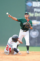 Shortstop Tzu-Wei Lin (36) of the Greenville Drive turns a double play, putting out Johan Camargo of the Rome Braves in a game on Sunday, August 3, 2014, at Fluor Field at the West End in Greenville, South Carolina. Lin is the No. 28 prospect of the Boston Red Sox, according to Baseball America. Rome won, 4-2. (Tom Priddy/Four Seam Images)