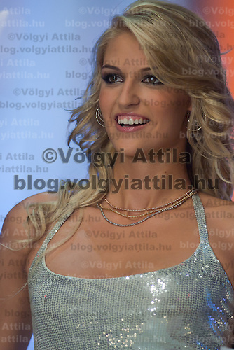 Contestant Vivien Meszaros participates the Beauty Queen live TV show hosting the joint beauty contests Miss World Hungary, Miss Universe Hungary and Miss Earth Hungary, held in Hungary's tv2 television headquarter in Budapest, Hungary on July 14, 2011. ATTILA VOLGYI