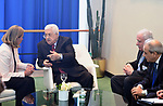 Palestinian President Mahmoud Abbas meets with the High Representative for Foreign Policy of the European Union, Federica Mogherini in New York City, U.S. on September 19, 2017. Photo by Osama Falah