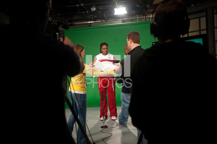 INDIANAPOLIS, IN - APRIL 1, 2011: Nnemkadi Ogwumike prepares for an on camera taping at Conseco Fieldhouse during the NCAA Final Four in Indianapolis, IN on April 1, 2011.