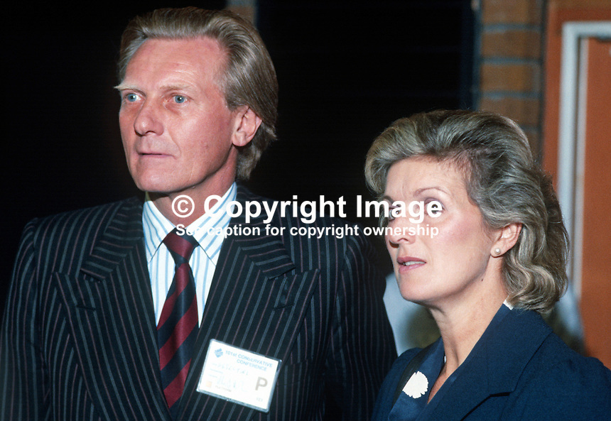Michael Heseltine, MP, Secretary of State for Defence, Conservative Party, UK, with his wife, Ann, at his party's 1984 annual conference, Brighton, the year the adjacent Grand Hotel, was bombed by the Provisional IRA. The Grand Hotel was where most cabinet members and senior party officials were staying. 19840143MH2.<br />