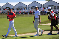 Jordan Spieth (USA) and Rory McIlroy (NIR) walk to the 17th tee during Thursday's Round 1 of the 118th U.S. Open Championship 2018, held at Shinnecock Hills Club, Southampton, New Jersey, USA. 14th June 2018.<br /> Picture: Eoin Clarke | Golffile<br /> <br /> <br /> All photos usage must carry mandatory copyright credit (&copy; Golffile | Eoin Clarke)