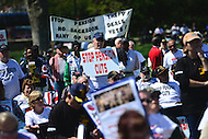 Washington, DC - April 14, 2016: Hundreds of members of the Teamsters union and retirees protest federal pension cuts during a rally on the west front of the U.S. Capitol in the District of Columbia, April 14, 2016. (Photo by Don Baxter/Media Images International)