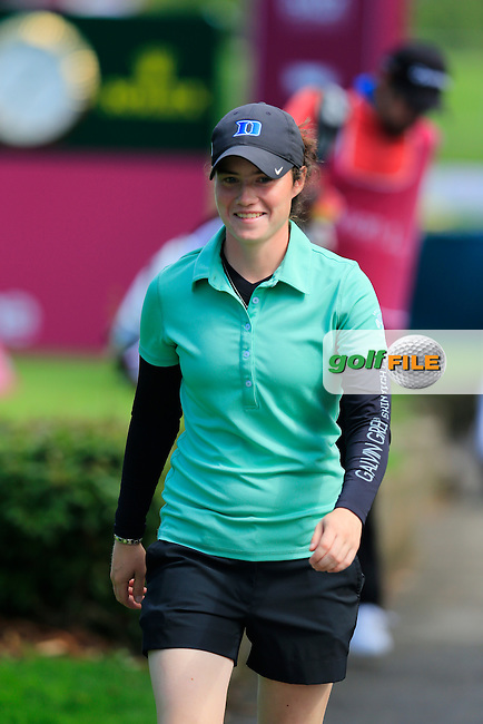 Leona Maguire (AM)(IRL) walks off the 7th tee during Sunday's Final Round of the LPGA 2015 Evian Championship, held at the Evian Resort Golf Club, Evian les Bains, France. 13th September 2015.<br /> Picture Eoin Clarke | Golffile