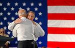 Vice president Joe Biden, left, and Senator Harry Reid share a hug during a support rally for US senate majority leader Harry Reid at the University of Nevada, Reno campus in Reno, Nev., Wednesday, Oct. 20, 2010.(AP Photo/Scott Sady)