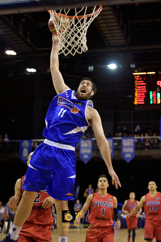 Saints' Jordan Ngatai in action during the NBL - Wellington Saints v Canterbury Rams   at TSB Bank Arena, Wellington, New Zealand on Saturday 8 April 2017.<br /> Photo by Masanori Udagawa<br /> www.photowellington.photoshelter.com.