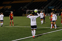 Rochester, NY - Friday April 29, 2016: Washington Spirit defender Ali Krieger (11) on a throw in. The Washington Spirit defeated the Western New York Flash 3-0 during a National Women's Soccer League (NWSL) match at Sahlen's Stadium.
