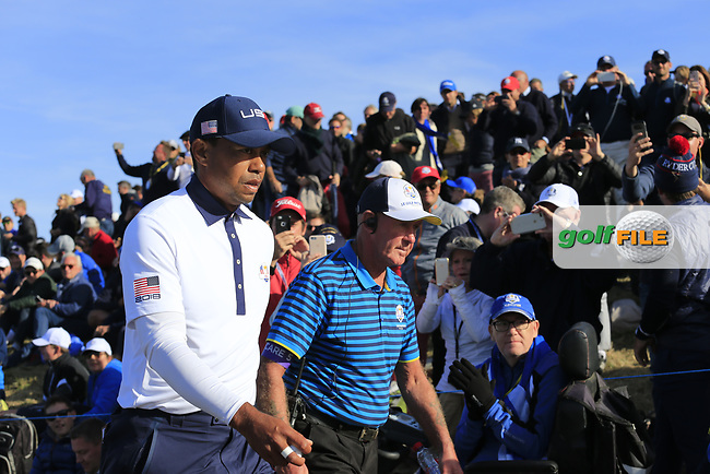 Tiger Woods (Team USA) walks to the 12th tee during Saturday's Foursomes Matches at the 2018 Ryder Cup 2018, Le Golf National, Ile-de-France, France. 29/09/2018.<br /> Picture Eoin Clarke / Golffile.ie<br /> <br /> All photo usage must carry mandatory copyright credit (© Golffile | Eoin Clarke)