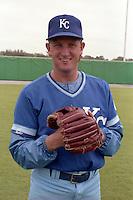 Kansas City Royals Bret Saberhagen during spring training circa 1989 at Baseball City Stadium in Davenport, Florida.  (MJA/Four Seam Images)