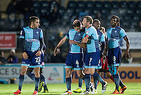 Celebrations as Stephen McGinn of Wycombe Wanderers scores 1 0 during the The Checkatrade Trophy Southern Group D match between Wycombe Wanderers and Coventry City at Adams Park, High Wycombe, England on 9 November 2016. Photo by Andy Rowland.