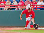 5 March 2015: Washington Nationals first baseman Ryan Zimmerman makes a scooping catch for the out during a Spring Training game against the New York Mets at Space Coast Stadium in Viera, Florida. The Nationals rallied to defeat the Mets 5-4 in their Grapefruit League home opening game. Mandatory Credit: Ed Wolfstein Photo *** RAW (NEF) Image File Available ***