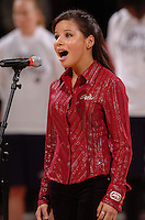 13 November 2005: A national anthem singer during Stanford's 92-65 win over Love and Basketball at Maples Pavilion in Stanford, CA.