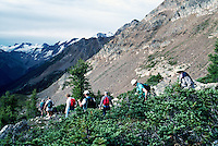 Bugaboo Provincial Park, BC, British Columbia, Canada - Hikers hiking in Alpine Region of Purcell Mountains