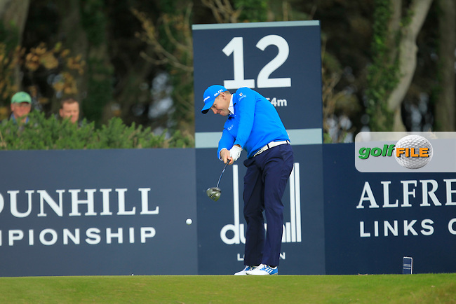 Stephen Gallacher (SCO) during Round 2 of the Alfred Dunhill Links Championship at Kingsbarns Golf Club on Friday 27th September 2013.<br /> Picture:  Thos Caffrey / www.golffile.ie