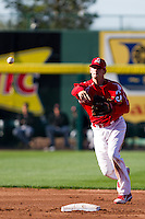 Ryan Jackson (23) of the Springfield Cardinals throw to first base during a game against the Frisco RoughRiders on April 16, 2011 at Hammons Field in Springfield, Missouri.  Photo By David Welker/Four Seam Images