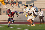 Mission Viejo, CA 05/11/11 - Alex Waller (St Margaret #17), Cole Sutliff (Foothill-Santa Ana #21) and Chance Cooper (Foothill-Santa Ana #19) in action during the St Margaret-Foothill boys varsity lacrosse game at Mission Viejo High School for the 2011 CIF Southern Section South Division Championship.  Foothill defeated St Margaret 15-10.