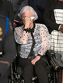 Roberta McCain, 106, mother of the late United States Senator John McCain (Republican of Arizona) sheds a tear during the invocation opening the Lying in State ceremony honoring her son in the US Capitol Rotunda in Washington, DC on Friday, August 31, 2018.<br /> Credit: Ron Sachs / CNP<br /> <br /> (RESTRICTION: NO New York or New Jersey Newspapers or newspapers within a 75 mile radius of New York City)