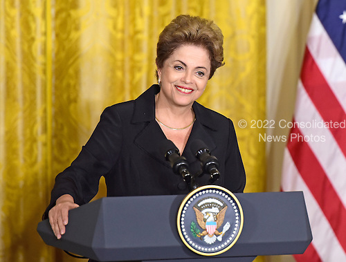 President Dilma Rousseff of Brazil holds a joint press conference with United States President Barack Obama (not pictured) in the East Room of the White House in Washington, D.C. on Tuesday, June 30, 2015.<br /> Credit: Ron Sachs / CNP