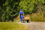 Amish woman pulling wagon
