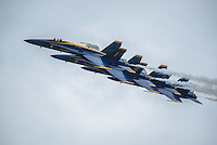 "The United States Navy Flight Demonstration Squadron ""The Blue Angels"" flies in formation during Arctic Thunder 2016 at Joint Base Elmendorf-Richardson. Photo by James R. Evans"