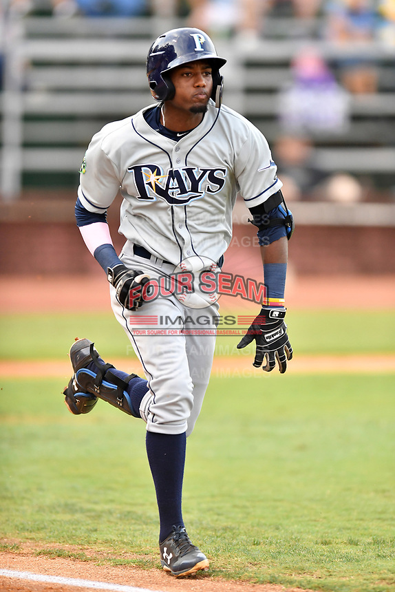 Princeton Rays designated hitter Osmy Gregorio (3) runs to first base during game two of the Appalachian League Championship Series against the Elizabethton Twins at Joe O'Brien Field on September 5, 2018 in Elizabethton, Tennessee. The Twins defeated the Rays 2-1 to win the Appalachian League Championship. (Tony Farlow/Four Seam Images)