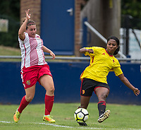 Otesha Charles of Watford Ladies & Chloe Gunn of Stevenage Ladies during the pre season friendly match between Stevenage Ladies FC and Watford Ladies at The County Ground, Letchworth Garden City, England on 16 July 2017. Photo by Andy Rowland / PRiME Media Images.