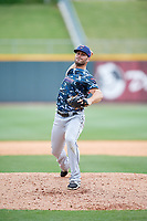 Jacksonville Jumbo Shrimp relief pitcher Tyler Kinley (23) delivers a pitch during a game against the Birmingham Barons on April 24, 2017 at Regions Field in Birmingham, Alabama.  Jacksonville defeated Birmingham 4-1.  (Mike Janes/Four Seam Images)