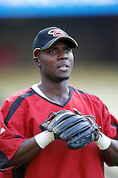 Orlando Hudson of the Arizona Diamondbacks during batting practice before a game from the 2007 season at Dodger Stadium in Los Angeles, California. (Larry Goren/Four Seam Images)