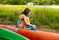 Thoughtful young girl on summer vacation.
