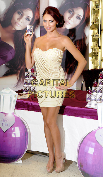 Amy Childs Fragrance Signing at Boots, Oxford Street, London, England..August 15th 2012.full length white strapless dress hand on hip beige peep toe shoes .CAP/PP/BK.©Bob Kent/PP/Capital Pictures.