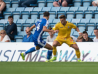 Gillingham's Alfie Jones (left) battles with Bolton Wanderers' Dennis Politic (right) <br /> <br /> <br /> Photographer David Horton/CameraSport<br /> <br /> The EFL Sky Bet League One - Gillingham v Bolton Wanderers - Saturday 31st August 2019 - Priestfield Stadium - Gillingham<br /> <br /> World Copyright © 2019 CameraSport. All rights reserved. 43 Linden Ave. Countesthorpe. Leicester. England. LE8 5PG - Tel: +44 (0) 116 277 4147 - admin@camerasport.com - www.camerasport.com