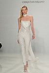 Model walks runway in a sequin jumpsuit with neckpiece, from the Christian Siriano for Kleinfeld bridal collection, at Kleinfeld on April 18, 2016 during New York Bridal Fashion Week Spring Summer 2017.