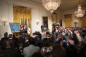 U.S. President Barack Obama speaks at a ceremony to award Sergeant First Class Leroy Arthur Petry, U.S. Army, the Medal of Honor for conspicuous gallantry and intrepidity at the risk of his life above and beyond the call of duty in the East Room of the White House in Washington D.C., July 12, 2011.  Sergeant Petry is receiving the medal for his courageous actions during combat operations against an armed enemy in Paktya, Afghanistan in May, 2008 and is the second living, active duty service member to be awarded the Medal of Honor for actions in Iraq or Afghanistan. .Credit: Allison Shelley / Pool via CNP