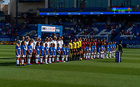 FRISCO, TX - MARCH 11: England and Spain stand for their national anthems during a game between England and Spain at Toyota Stadium on March 11, 2020 in Frisco, Texas.