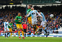 Preston North End's Ben Davies competes in the air with Blackburn Rovers' Elliott Bennett<br /> <br /> Photographer Alex Dodd/CameraSport<br /> <br /> The EFL Sky Bet Championship - Blackburn Rovers v Preston North End - Saturday 9th March 2019 - Ewood Park - Blackburn<br /> <br /> World Copyright © 2019 CameraSport. All rights reserved. 43 Linden Ave. Countesthorpe. Leicester. England. LE8 5PG - Tel: +44 (0) 116 277 4147 - admin@camerasport.com - www.camerasport.com
