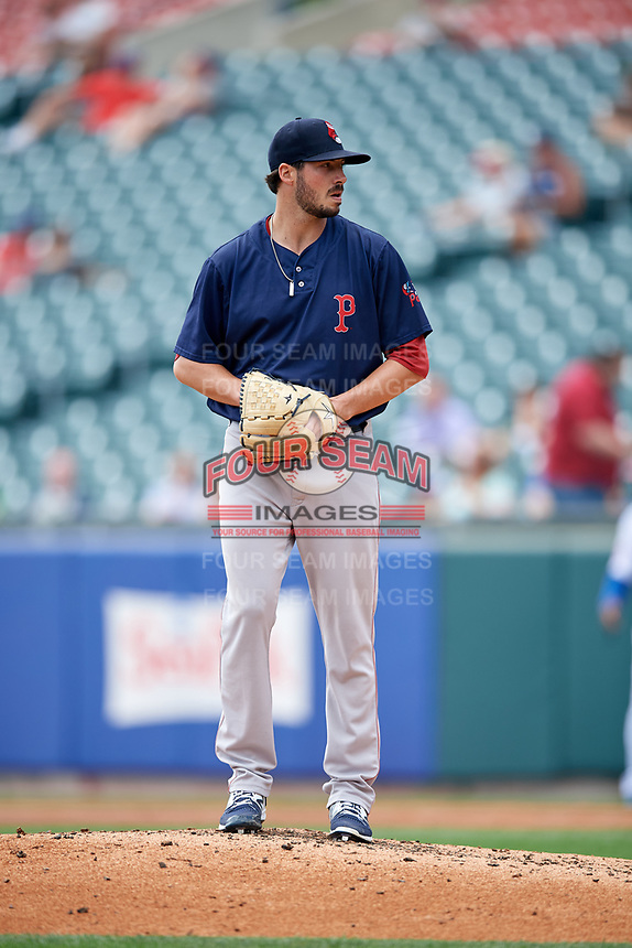 Pawtucket Red Sox starting pitcher Chandler Shepherd (28) gets ready to deliver a pitch during a game against the Buffalo Bisons on June 28, 2018 at Coca-Cola Field in Buffalo, New York.  Buffalo defeated Pawtucket 8-1.  (Mike Janes/Four Seam Images)