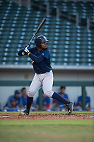 AZL Brewers first baseman Aaron Familia (18) at bat during an Arizona League game against the AZL Cubs 1 at Sloan Park on June 29, 2018 in Mesa, Arizona. The AZL Cubs 1 defeated the AZL Brewers 7-1. (Zachary Lucy/Four Seam Images)