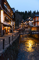 The main street at night. Ginzan Onsen, Yamagata Prefecture, Japan, April 12, 2016. Once a sliver-mining town, Ginzan Onsen in Yamagata Prefecture is now one of Japan's best-known and most picturesque hot spring resorts. Its Taisho-period architecture and retro atmosphere is said to have been an inspiration for Hayao Miyazaki's Oscar-winning animated film, Spirited Away.