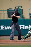 Umpire Chris Tipton makes a call during a South Florida Bulls game against the Dartmouth Big Green on March 27, 2016 at USF Baseball Stadium in Tampa, Florida.  South Florida defeated Dartmouth 4-0.  (Mike Janes/Four Seam Images)
