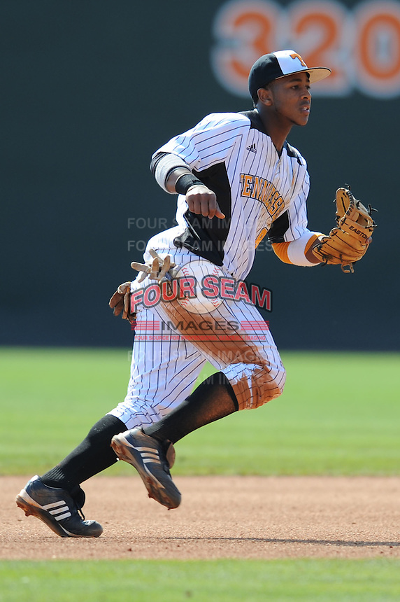 Khayyan Norfork #8 of the Tennessee Volunteers breaks to make a play at Lindsey Nelson Stadium against the the Manhattan Jaspers on March 12, 2011 in Knoxville, Tennessee.  Tennessee won the first game of the double header 11-5.  Photo by Tony Farlow / Four Seam Images...