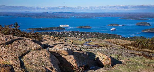 Bar Harbor As Seen From Cadillac Mountain At Acadia National Park, Maine, USA