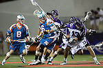 San Francisco Dragons vs Los Angeles Riptide.Lebard Stadium, Orange Coast College,Huntington Beach, California.Greg Downing (#8), D.J. Driscoll (#36) and Kyle Hartzell (# 13).506P1182.JPG.CREDIT: Dirk Dewachter